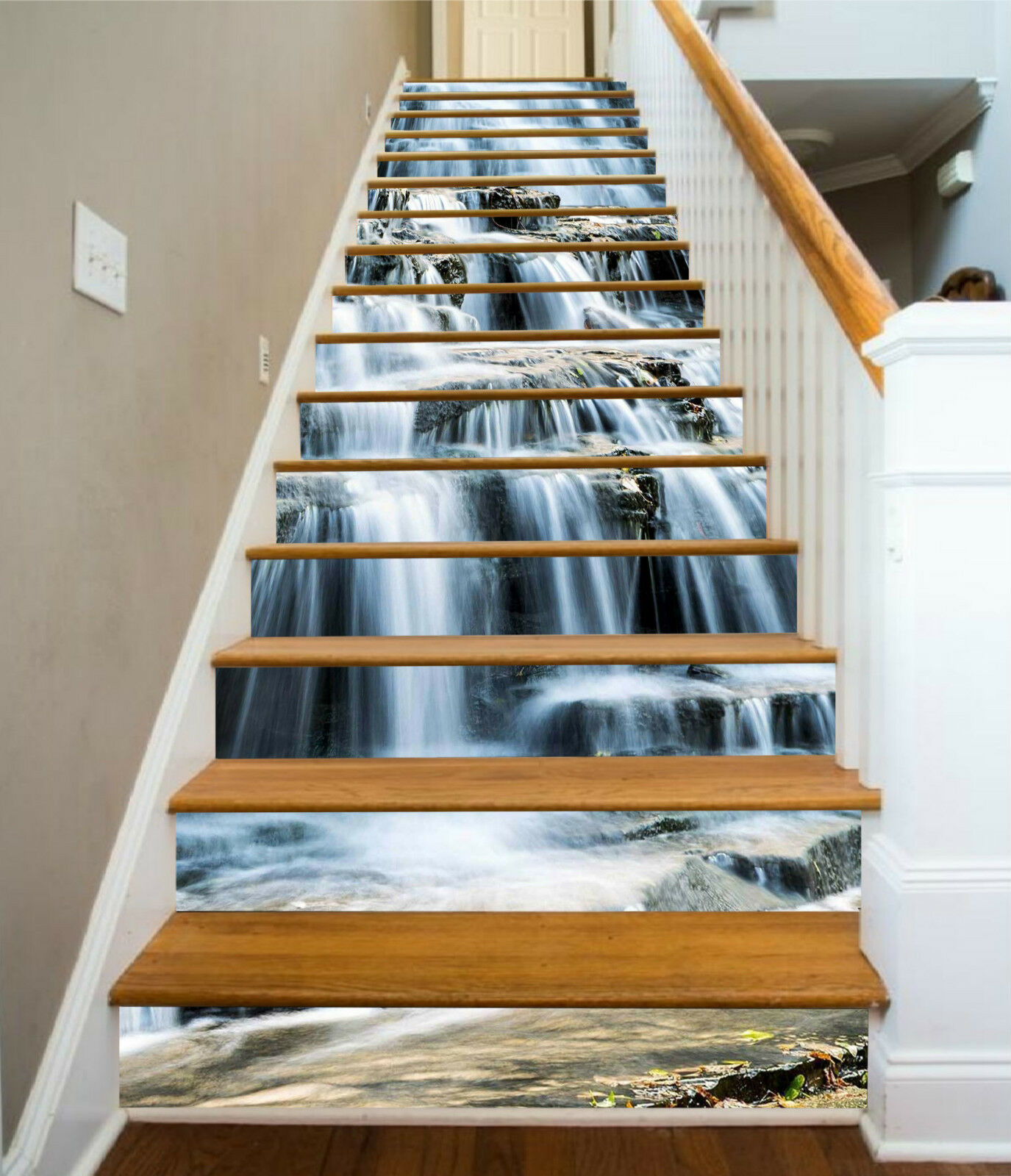 3D Wasserfall 006 Stair Risers Dekoration Fototapete Vinyl Aufkleber Tapete DE