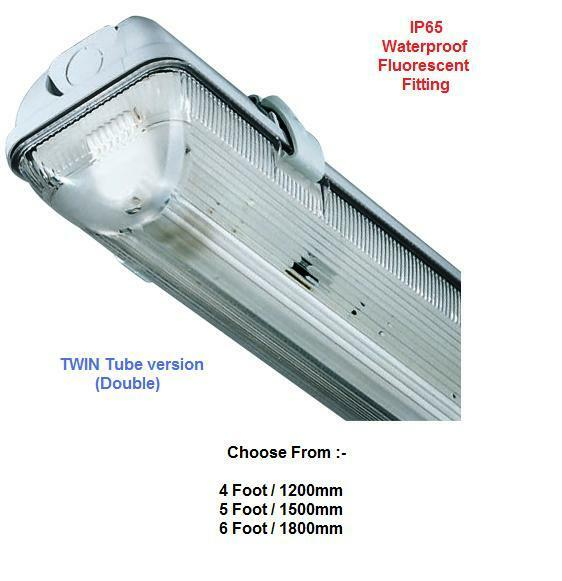 IP65 Fluorescent Weatherproof Light Fitting - 4   5 & 6ft TWIN Waterproof Lights