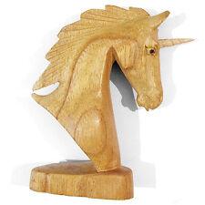 Hermosa Pequeña Unicornio Estatua Adorno Decoración Tallado En Madera Tallada a Mano Regalo