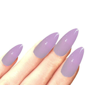 Image Is Loading 24 Lilac Full Cover Long Stiletto Point False