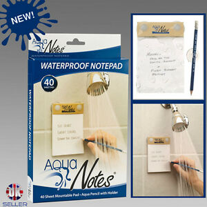 Image is loading Waterproof-Notepad-For-Shower-Paper-and-Pencil-Aqua-