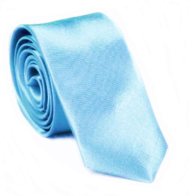 Slim CRAVATTA CIELO BLU prezioso raso Cravatta Classica Cravatta blu chiaro