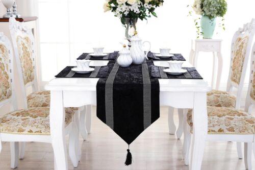 Black Table Runner Placemat Set Flocked Damask Chenille Rhinestone Wedding Decor
