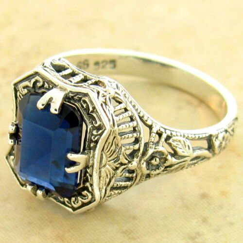 #1171 2 CT ROYAL BLUE SIM SAPPHIRE ART DECO 925 STERLING SILVER RING SIZE 6
