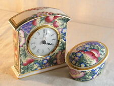 """Wedgwood Royal Doulton Mantle Clock """" Orchard Hill """" & matching Oval Box, Superb"""