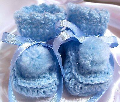 08ff1df5d9b3d HANDMADE CROCHET BABY REBORN DOLLS BOOTIES SHOES BLUE PREEMIE NEWBORN | eBay