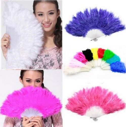 Feather Folding Hand Fan Burlesque Wedding Showgirl Dance Nightclub Fancy Dress