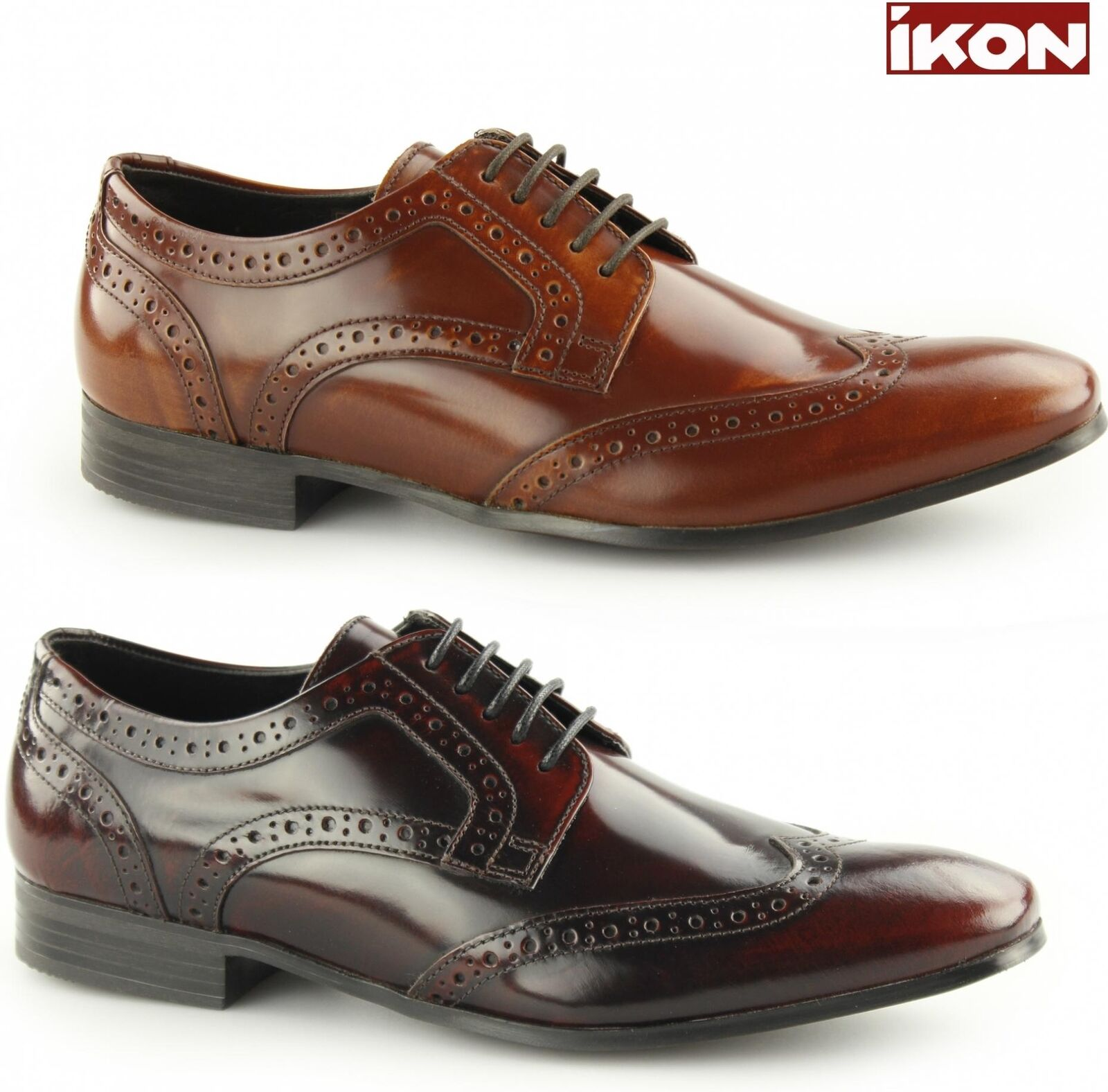 Ikon NOLAN Mens Hi Shine Leather Laced Smart Formal Evening Derby Brogue shoes