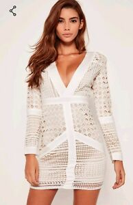 fb59bc92be Image is loading Missguided-white-lace-plunge-bodycon-dress-Size-8-