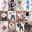 3pcs Toddler Newborn Baby Boy Girl T-shirt Tops+Pants Outfits Set Clothes lot