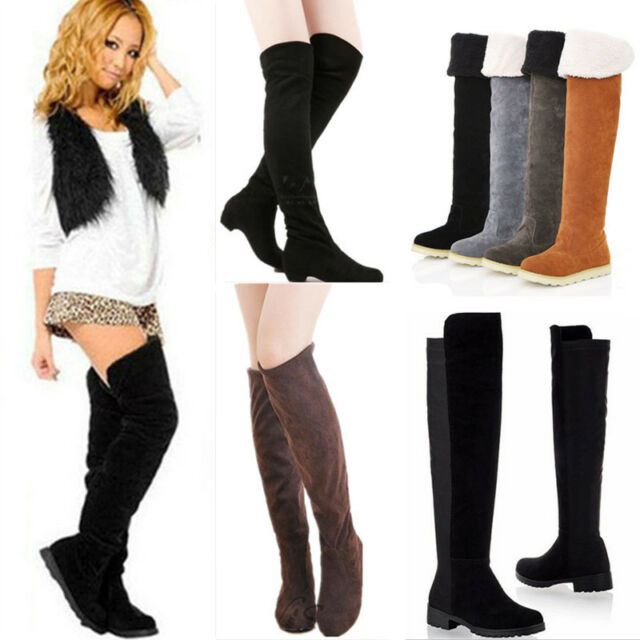 Women Lady Flat Thigh High Over Knee Suede Shoes Stretch Warm Winter Snow Boots