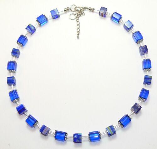Collar cadena vidrio Lampwork lámina de plata Murano tipo multicolor lila 370o