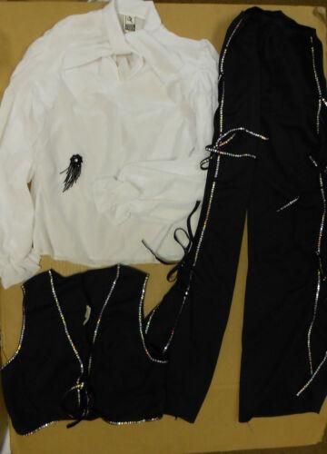 Caballero DANCE COSTUME 3 PIECES COWBOY BLACK WHITE Conchos Latin child sizes