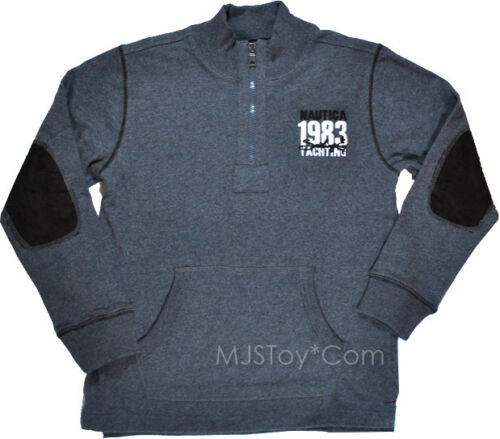 NWT Nautica 1983 Yachting Embroidered Boy Quarter Zip Pullover Gray Sweater L XL