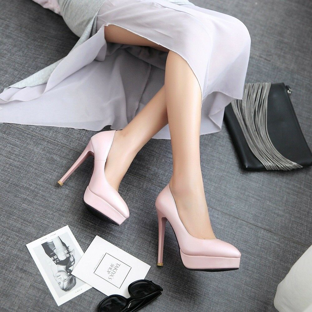 Women Elegant Stiletto Heels Platform Pumps Slip On Pointy Toes Fashion OL Shoes
