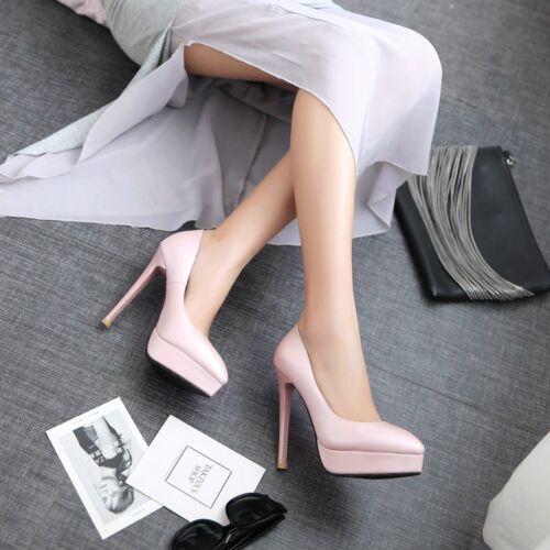 Women Elegant Stiletto Heels Platform Pumps Slip On Pointy Toes Fashion OL Shoes