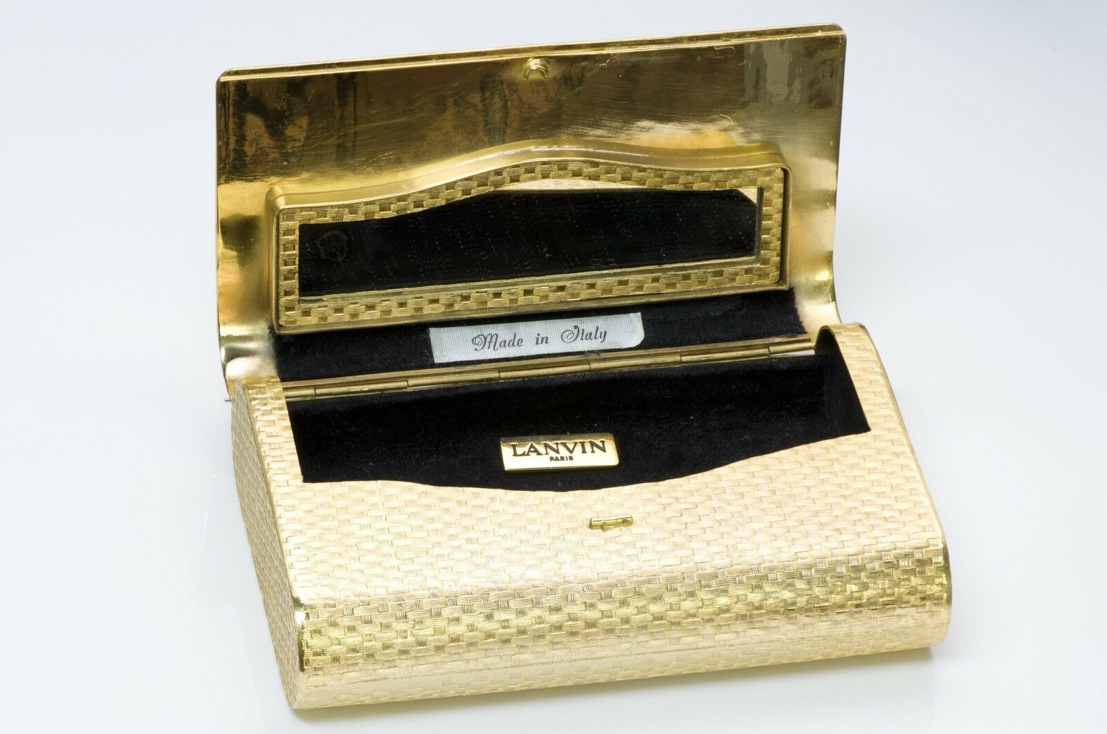 Lanvin 1970's Gold Tone Metal Clutch - image 3