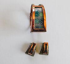Signed Matisse Renoir Copper Enamel Bracelet Earrings Aqua Vintage #155