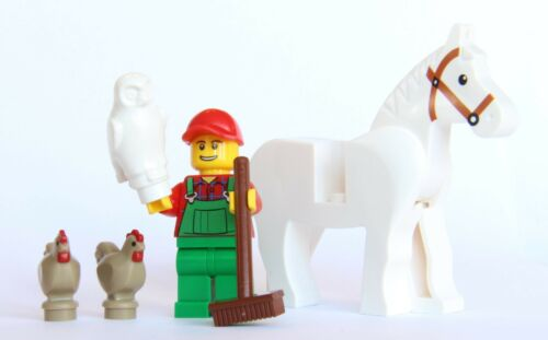 LEGO® City Farm Lot #6 Owl 2 Chickens White Horse Farmer