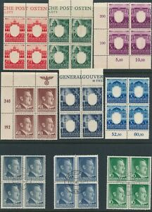 Lot-Stamp-Germany-Poland-Blocks-WWII-3rd-Reich-Hitler-Krakow-Warsaw-Lublin-MNG