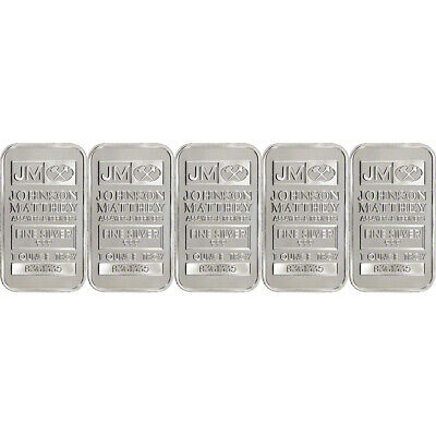 5 JM Silver Bar 1 oz FIVE Johnson Matthey .999 Fine Sealed New w// Serial #