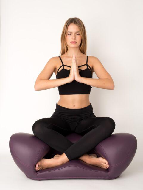 """Alexia """"Meditation Seat"""" Zen Yoga Ergonomic Chair Foam Cushion  Leather Purple"""