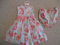 Polly & Friends Blue Pink Floral 2 Pc Dress Set Size 18 Month Girls