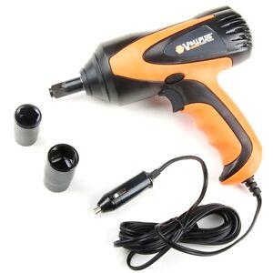 "12-Volt 1/2"" Electric Impact Wrench Gun Kit 5000 RPM w/ Sockets Orange and Black"