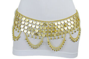 Femme-Ethnique-Ceinture-Large-Metal-or-Chaine-Piece-Ventre-Danse-Hip-Bling-M-L