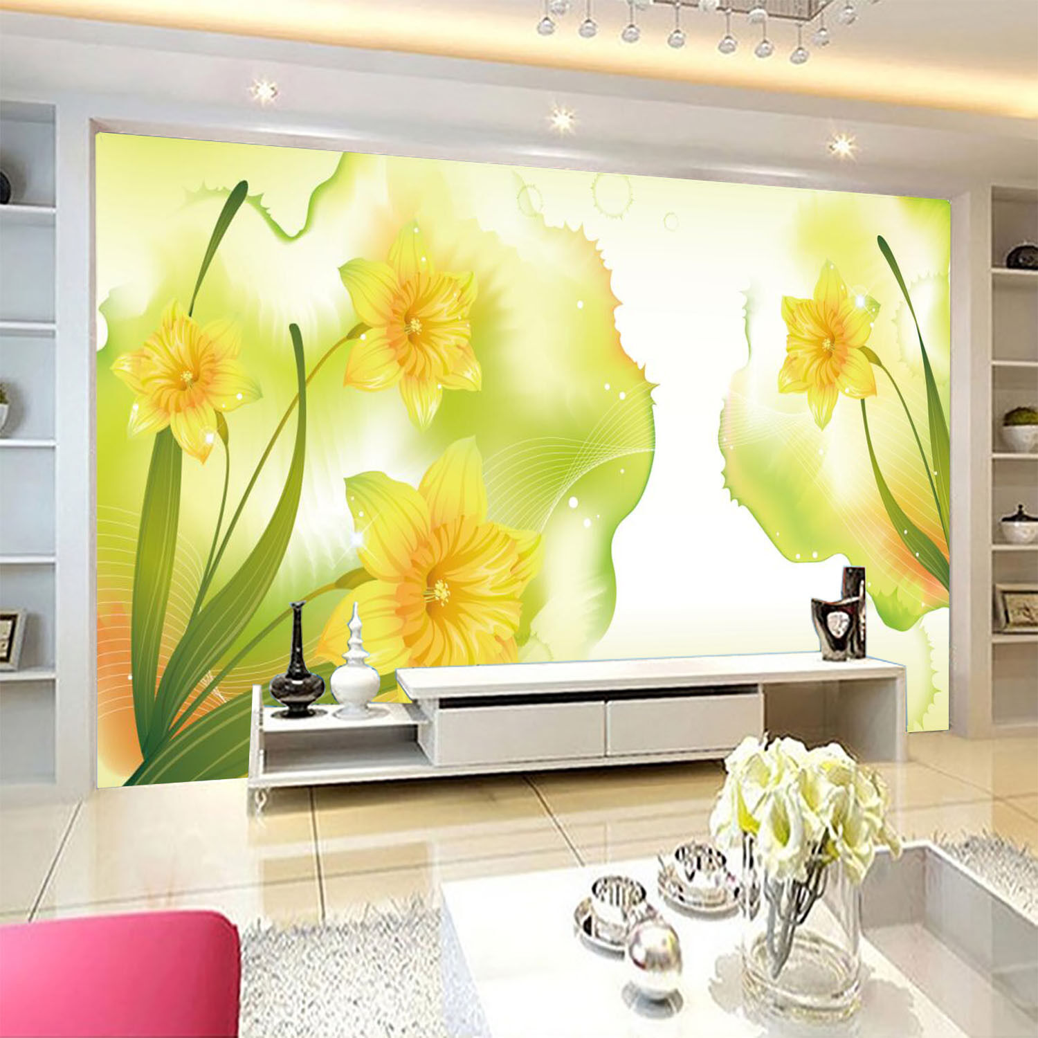 3D Bright Gelb Flower Wall Paper Print Decal Wall Deco Indoor wall Mural