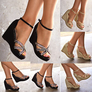 ac989ba80a3 NEW Ladies Sparkly Wedges Womens Mid Heel Strappy Evening Diamante ...