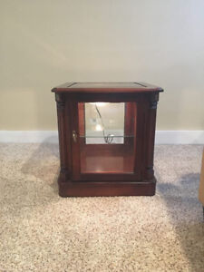 Image Is Loading Unique Lighted Curio Cabinet End Table This Item