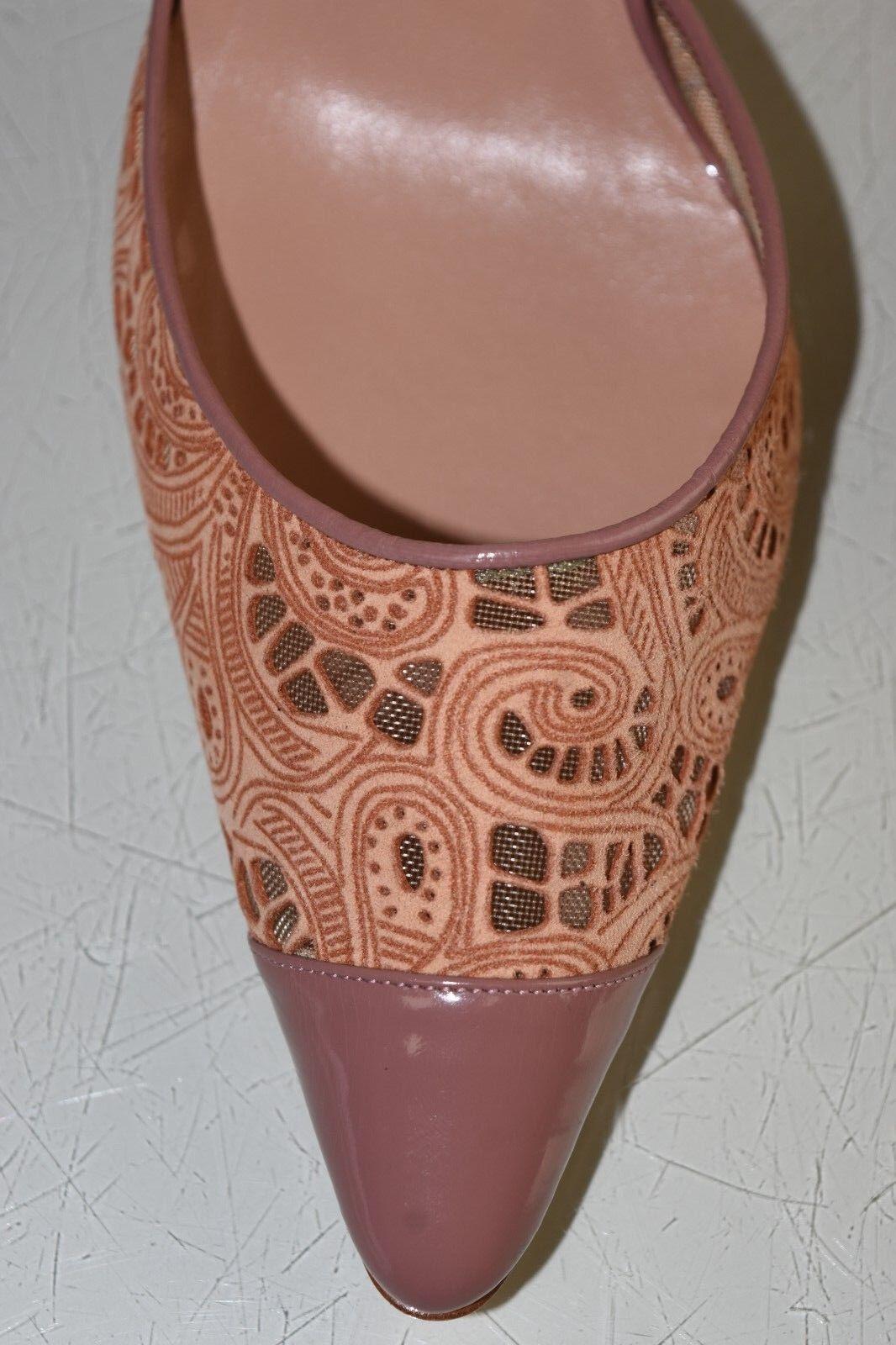 Neuf Neuf Neuf Manolo Blahnik Tayler Chair Beige Laser Cuir Suédé Chaussures Verni 40.5 fba061