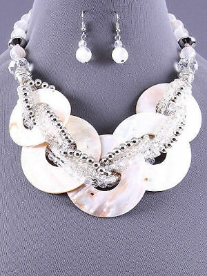 """New QVC Silver Multi Strand Shell Pearl Necklace and Earring Set 18"""" Long Chain"""
