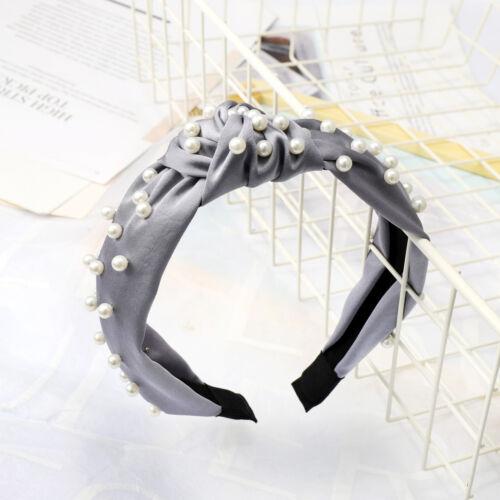 Tie Hairband Headband Hair Knot Band Fabric Women/'s Accessories Hoop Pearl Wide