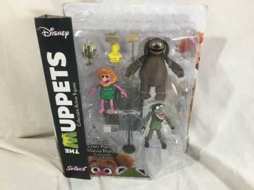 DISNEY MUPPETS COLLECTABLE ACTION FIGURES ROWLF CRAZY HARRY /& MAHNA MAHNA