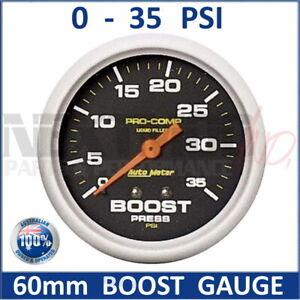 "60mm BOOST Gauge 0-35 PSI Black Face Auto Meter Pro-Comp Liquid Filled 2-5/8"""