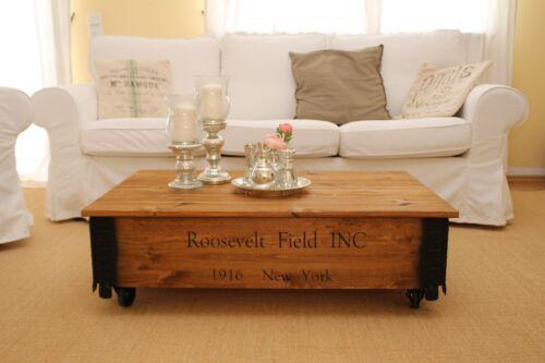 Couchtisch Truhe Wohnzimmertisch Sofatisch Holz massiv vintage shabby loft alt h