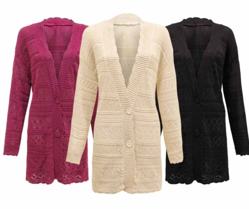 Women/'s Ladies Knitted Cable 2 Button Boyfriend Crochet Cardigan Top Plus Size