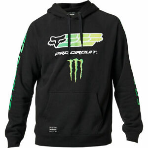 Details about FOX RACING MONSTER ENERGY PRO CIRCUIT BLACK HOODIE PN 26563 001 XL SUPER RARE