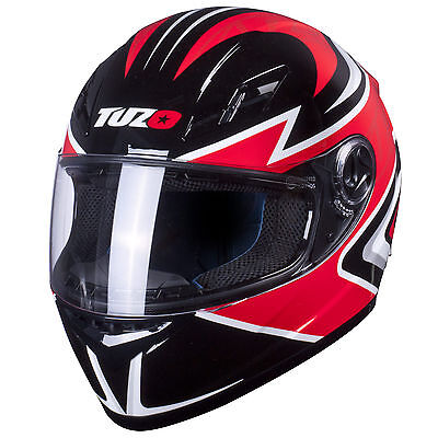 Tuzo Ghost Full Face Motorcycle Crash Helmet Black/Red Medium