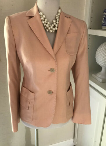 Akris Blazer, Size 10, Silk, Melon, Lined, 2 Butto
