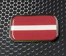 "LATVIA FLAG CHROME Emblem Proud Latvija Flag Car Domed sticker 3D 3""x 1.8"""