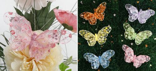2x Schmetterling Deko mit Clip Set Balkon Terasse Garten 17cm Neu blau grün gelb