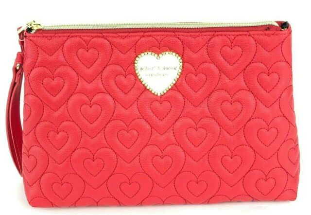 92bca5ba0fa Betsey Johnson T-Bottom Quilted Puffed Red Hearts XL-Wristlet Cosmetic Bag
