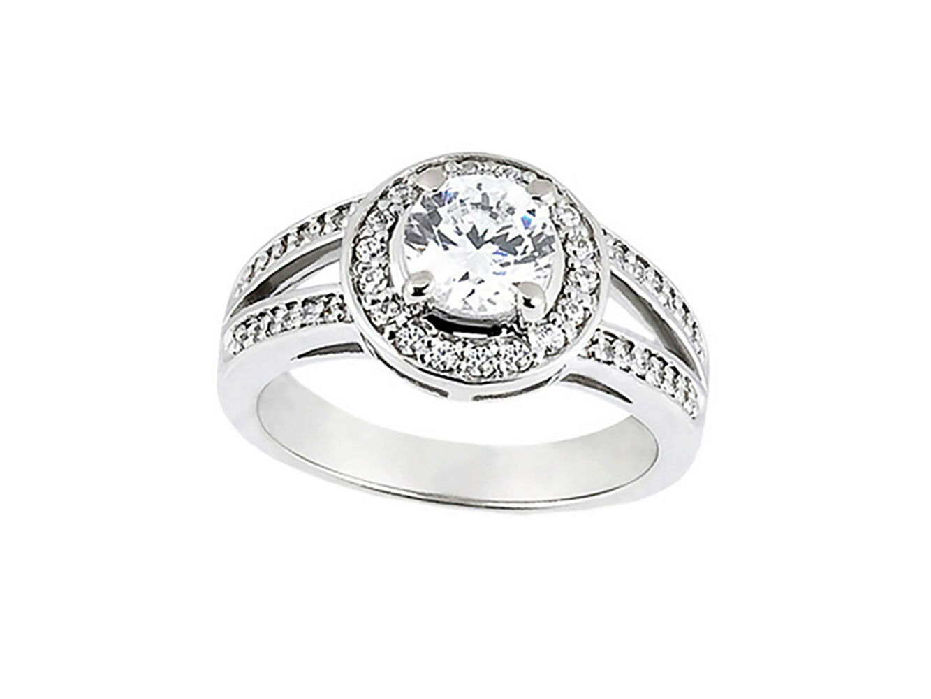 Natural 0.75Ct Round Cut Diamond Halo Split Shank Engagement Ring 10k gold GH I1