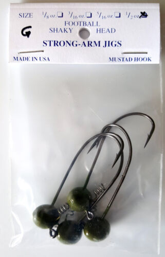 Football Shaky Head 1//2oz Mustad Hook Color Green 4 per pack Strong-Arm Jigs