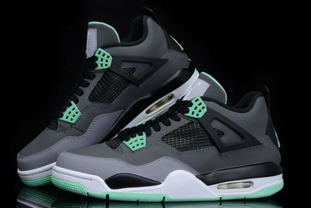 60ae2aca7e417b Nike Air Jordan IV 4 Retro Grey green Glow-cement Grey 308497-033 Sz ...