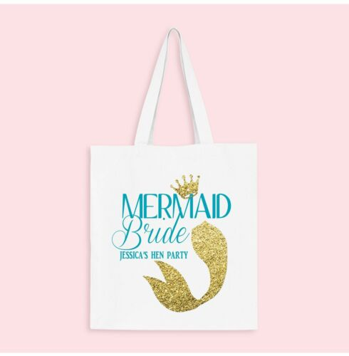 Mermaid Bride Personalised Hen Party Tote Bags White White