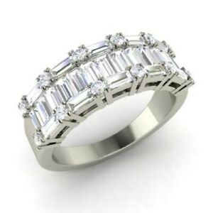 1.74 Ct Solitaire Moissanite Anniversary Proposal 18K White Gold Eternity Band